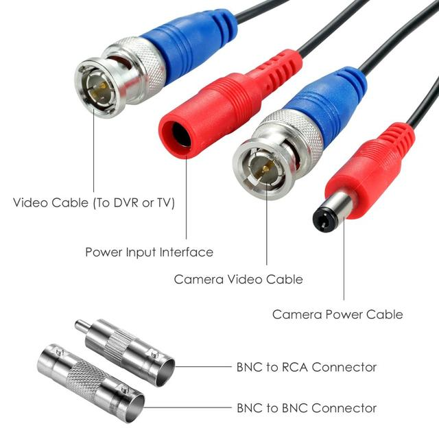 ZOSI-câble dalimentation en vidéosurveillance   18.3m(60ft), prise de câble BNC + DC pour caméra de vidéosurveillance et système DVR, câble Coaxial, couleur noire