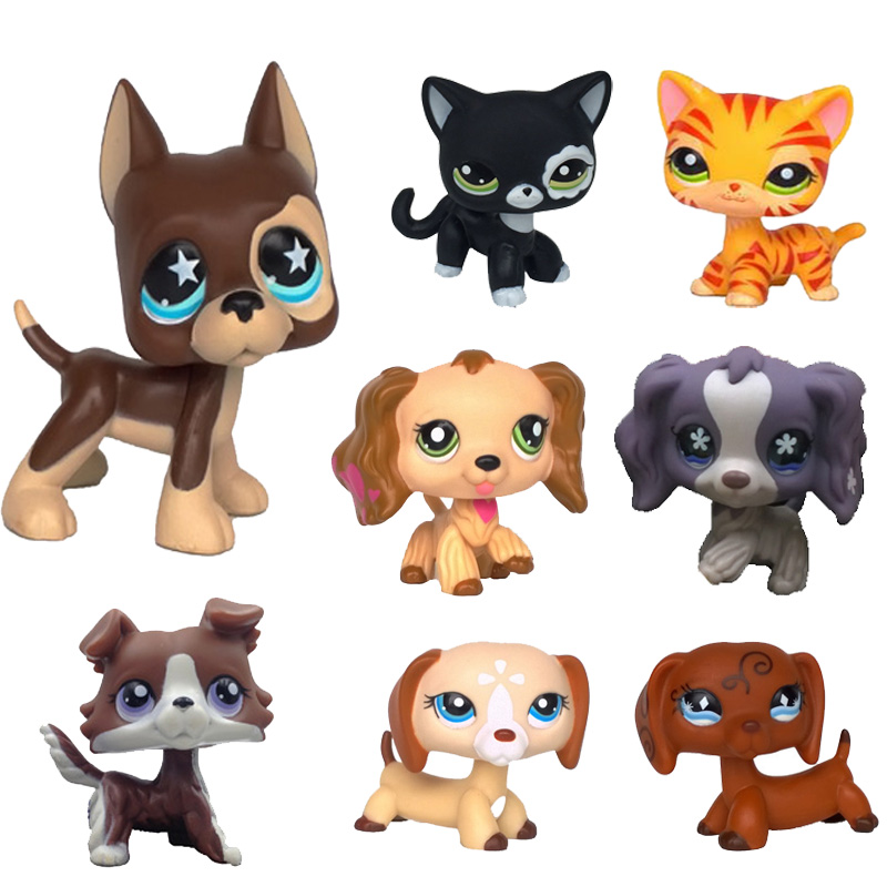Real Lps Littlest Pet Shop Hasbro Toy Dog Shorthair Pink Cat Dachshund Great Dane Black White Shepherd Dachshund Free Shipping