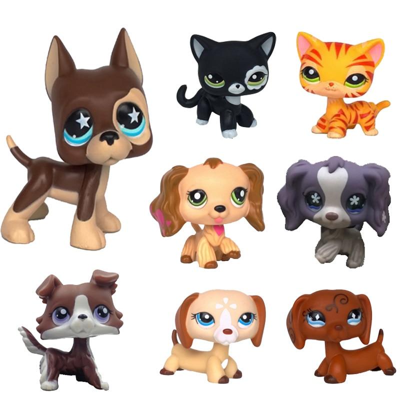 Real lps littlest pet shop Hasbro toy dog shorthair pink cat dachshund great dane black white shepherd dachshund free shipping