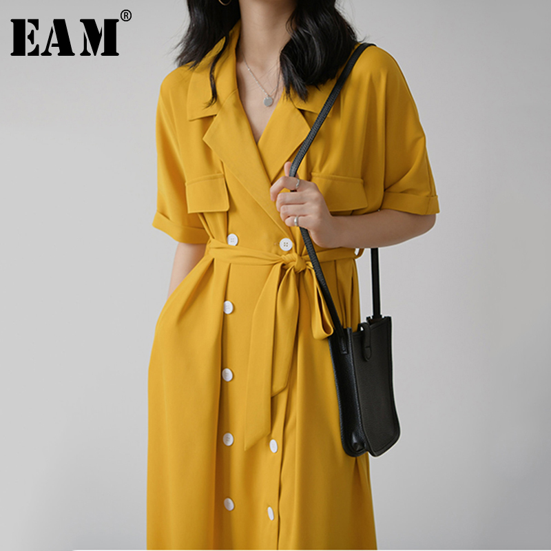[EAM] Women Yellow Double Breasted Big Size Long Dress New Lapel Half Sleeve Loose Fit Fashion Tide Spring Summer 2020 1Y618