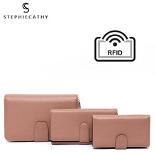 SC Luxury Solid Color Real Leather Women Wallets Design RFID Multi Card Holders Purses Ladies Fashion Daily Clutches Set Handbag