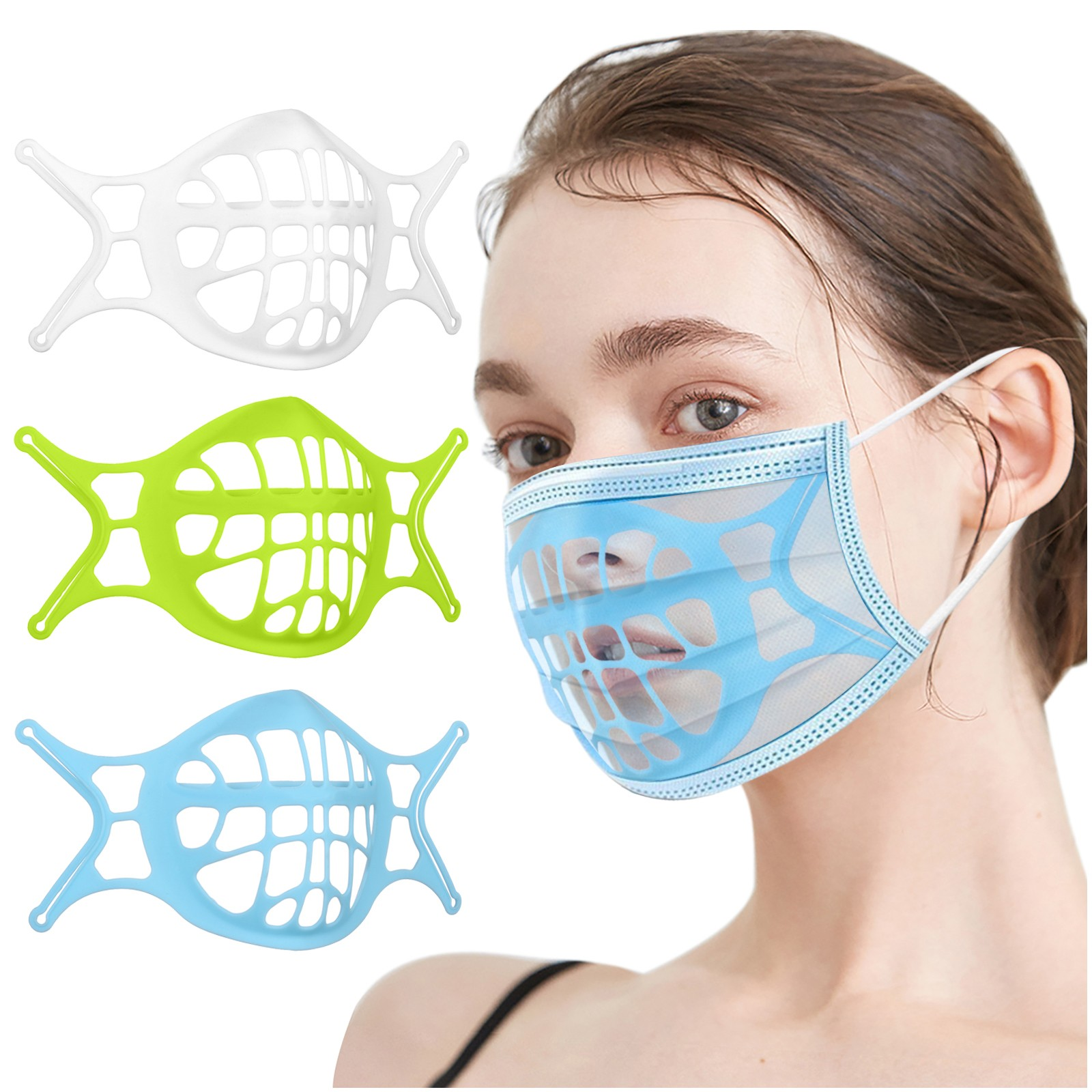 Кронштейн для маски 3d, мягкий силиконовый кронштейн для маски для лица, держатель для дышащей маски для рта, поддерживающая рама, вальвингов...