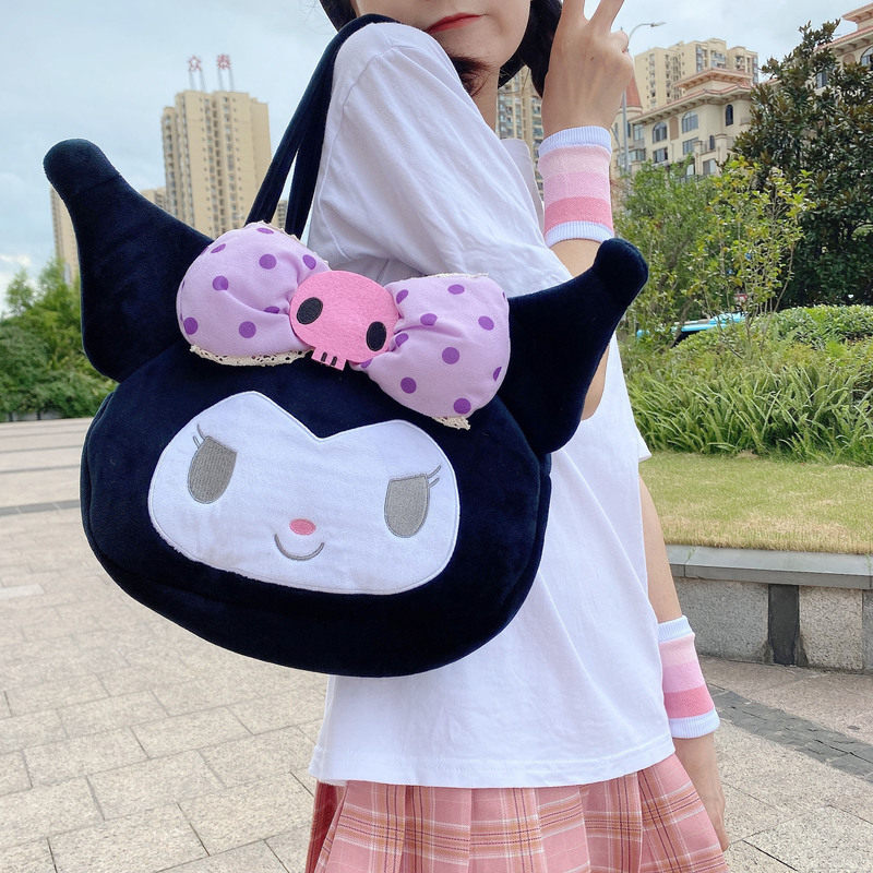 Kawaii Sanrio Series Plush Bag Toy Large Capacity Backpack Kuromi Loli Shouder Bag Doll Lovely Pendant Purse Toy Girlfriend Gift