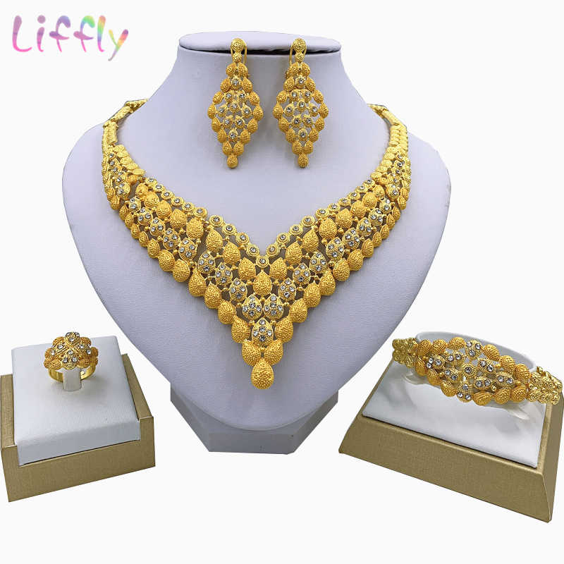 Fashion Charm African Bride Earrings Ring Drop Jewelry Sets Classic Style Wedding Dubai Necklace Bracelet for Women Jewelry Set