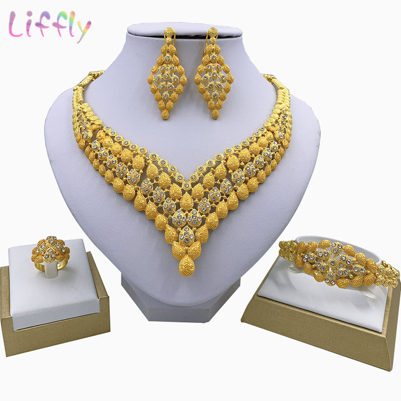 Fashion Charm African Bridal Earrings Ring Drop Jewelry Sets Classic Wedding Dubai Necklace Bracelet for Women Jewelry Set