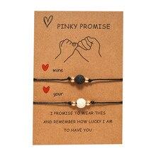 Pinky Promise Friendship Paper Card Bracelet Women Adjustable Natural Stone Lucky Black String Bracelets Femme Fashion Jewelry