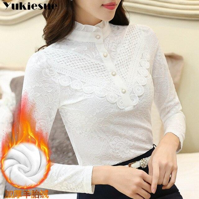 2019 Casual winter Autumn High Collar ruffless Lace Blouses Women Ladies Tops Lace Women Blouses Long Sleeve Shirt plus size 3XL 3
