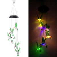 Color Changing Solar Hummingbird Light Wind Chimes Lamp Dangler LED Multi color Solar Wind Spinner Night Light Garden Decoration|Chimes| |  -
