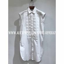 2020 women's summer shirt white sleeveless lapel shirt femal