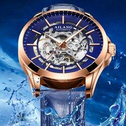 AILANG przezroczysty szkielet Dial męskie zegarki Top marka luksusowe niebieskie skórzane automatyczne stylowy zegarek mechaniczny zegar świetlny