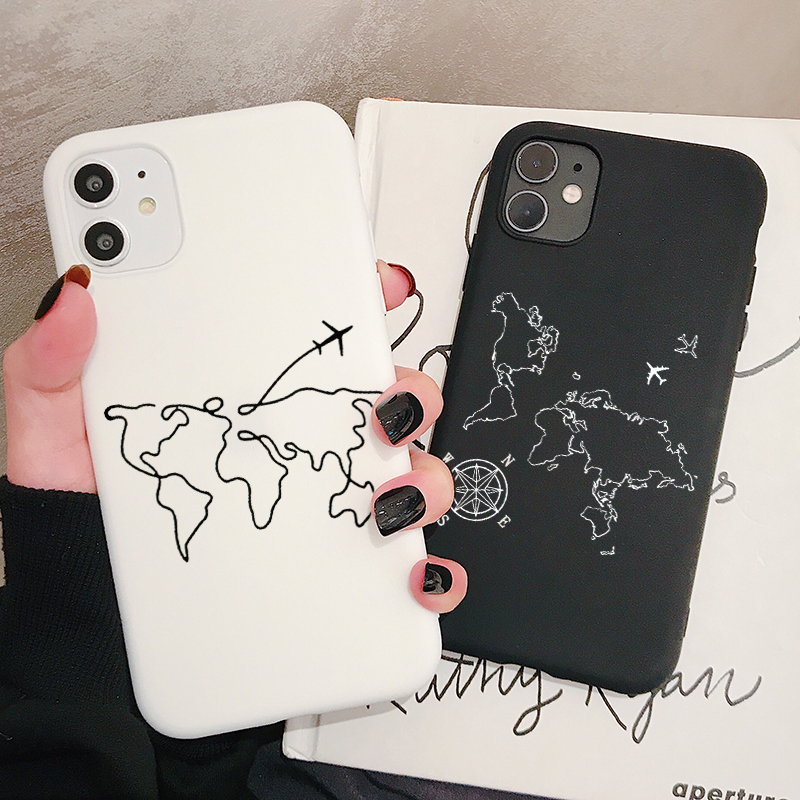 World Map Travel Phone Case For <font><b>Samsung</b></font> Galaxy S10 S9 S8 S7 S6 Plus Lite edge <font><b>S10e</b></font> Frosted Silicone Cases Soft Cover image