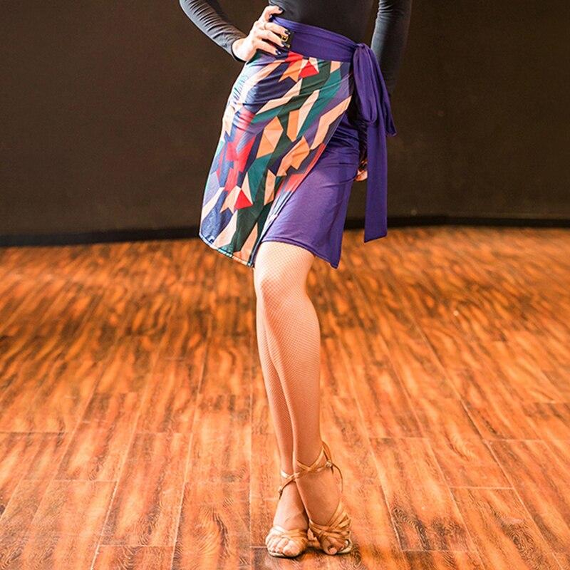 Fashion Latin Dance Skirt Women Tango Salsa Cha Cha Samba Rumba Ballroom Practice Wear Pringting Performance Rave Outfit DF1779