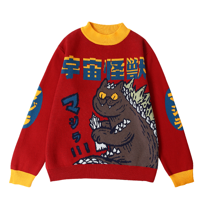 Harajuku Fashion Knitted Women Sweater Cartoon Monster Embroidery Student Sweater Coat Loose Retro Hit Color Pullover Sweater