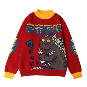 Image 1 - Harajuku Fashion Knitted Women Sweater Cartoon Monster Embroidery Student Sweater Coat Loose Retro Hit Color Pullover Sweater