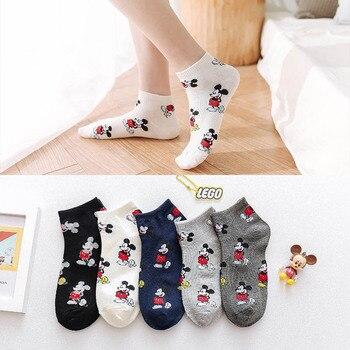 Korean Fashion Mickey Women Socks Novelty Cartoon Mouse Sox Harajuku Kawaii Cute Cotton Happy Casual Funny