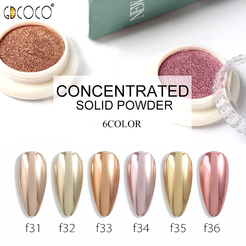 GDCOCO Nail Solid Glitter Powder Mirror Chrome For UV LED Nail Gel Polish Mulit Holographic Effect Decorations Manicure