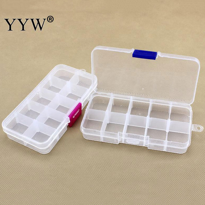 Jewelry Beads Container 10 Grids Adjustable Storing Jewelry Beads Storage Box Case  128x65x22mm