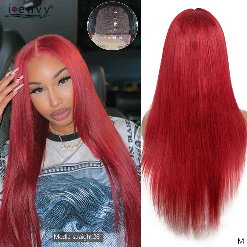 I Envy Red Brazilian Lace Closure Human Hair Wigs Burgundy Straight Wigs 4X4 Lace Closure 99J Colored Wigs Black Woman Non-Remy