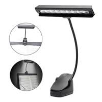 9 LEDs Table Light Clamp Clip On LED Reading Light Flexible Bedside Lamp Portable Battery Rechargeable Book Table Desk Lights Book Lights     -