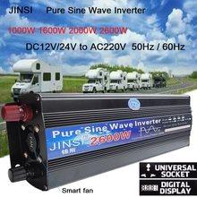 Inversor de onda sinusoidal pura con pantalla LED, transformador de corriente 12V/24V 220V, 1000W, 2000W y 2600W, conversor de potencia DC12V a AC 220V