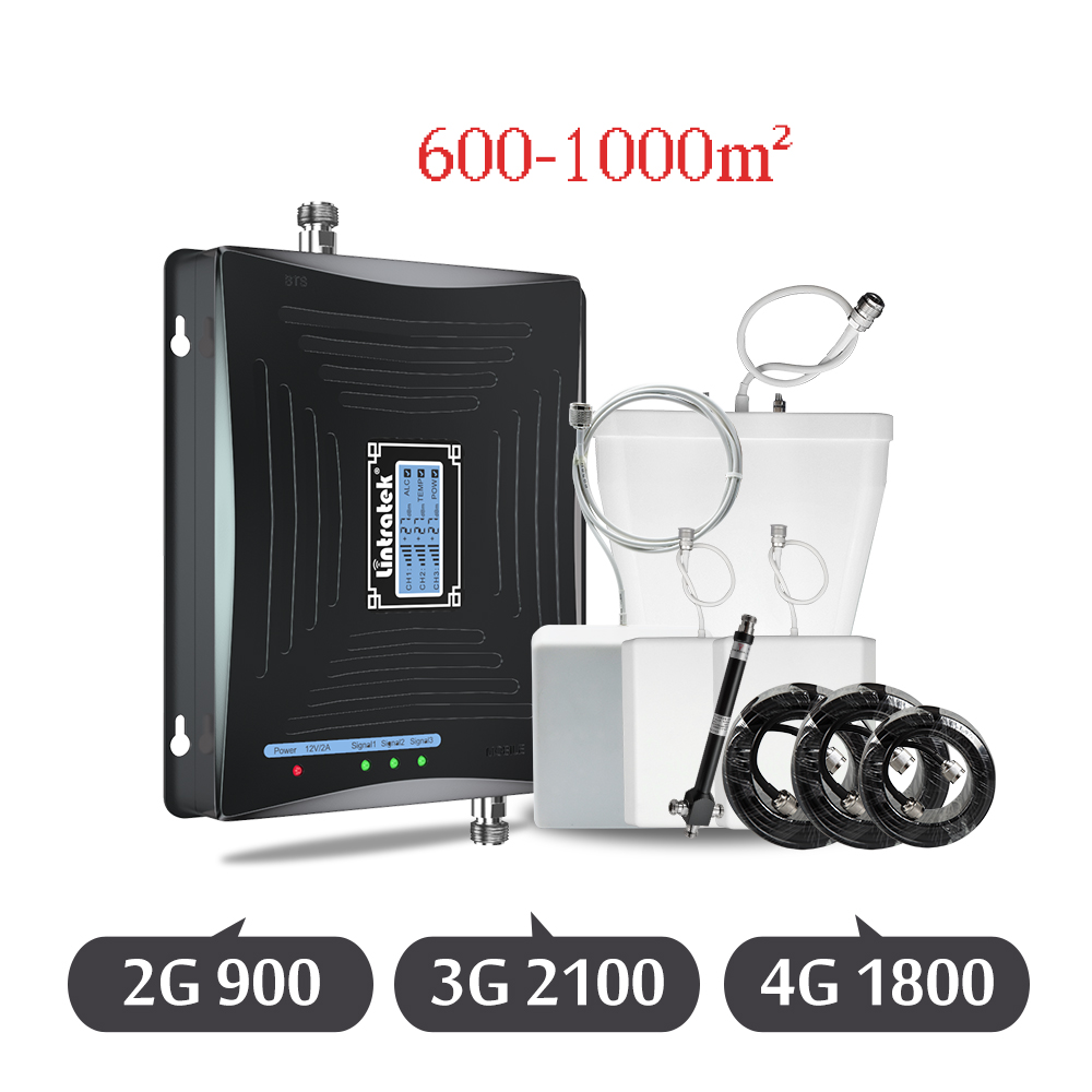 Lintratek 2G 3G 4G Tri-Band Signal Booster GSM 900mhz DCS 1800mhz WCDMA 2100mhz Cell Phone 3-way Cellular Signal Repeater Set Dj