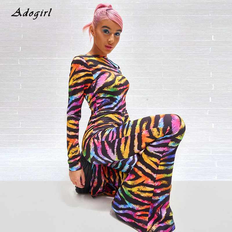 Fashion Zebra Pattern Jumpsuit Vintage Boot Cut Pants Sexy Backless Bodycon Female Slim Evening Club Colorful Overalls