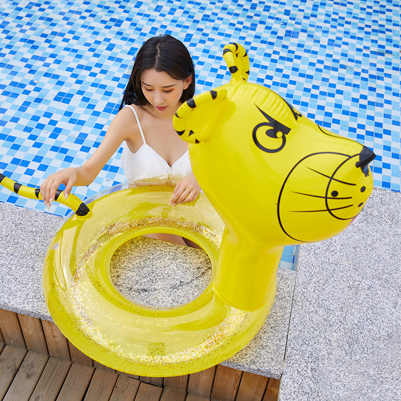 90cm Giant Children Inflatable Tiger Pool Float Kids Swimming Ring Tube Yellow Pool Floats Water Holiday Party Toys Piscina