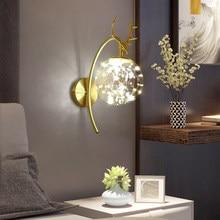 Nordic Led Gypsophila Antlers Wall Lamp Luxury Glass Ball Sconce Light Home Decoration for Bedroom Bedside Corridor Corner Aisle