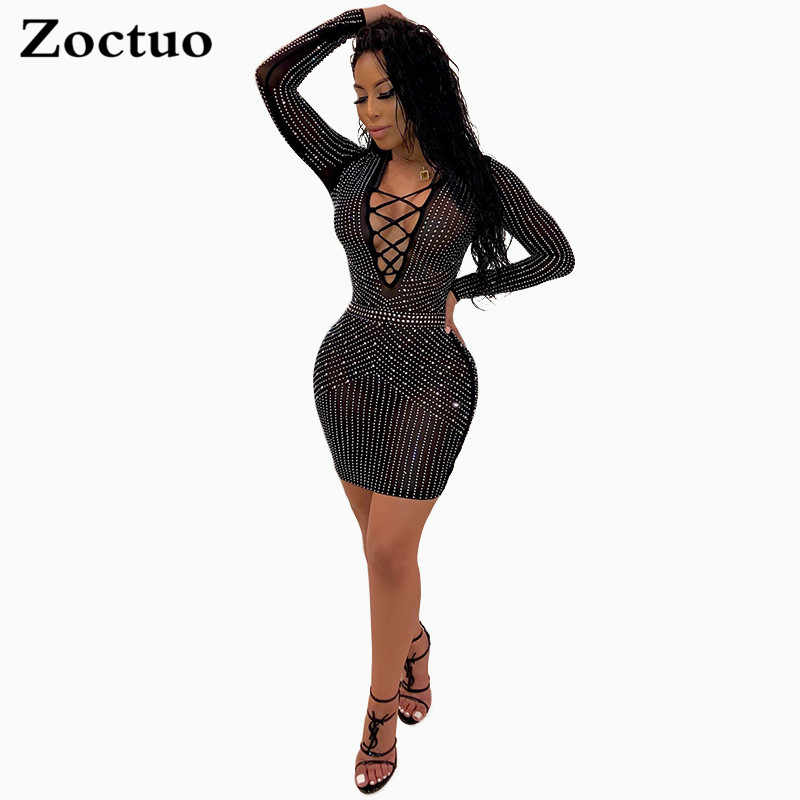 Zoctuo mujeres Sexy Sheer Mesh Diamond Bandage vestido cuello en V manga larga Jersey cintura media perspectiva Night Club Mini vestido
