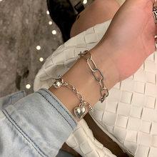 De corazón de Plata de Ley 925 pulsera de plata tailandesa para mujeres geométrico redondo bola joya pulsera para regalos S-B479