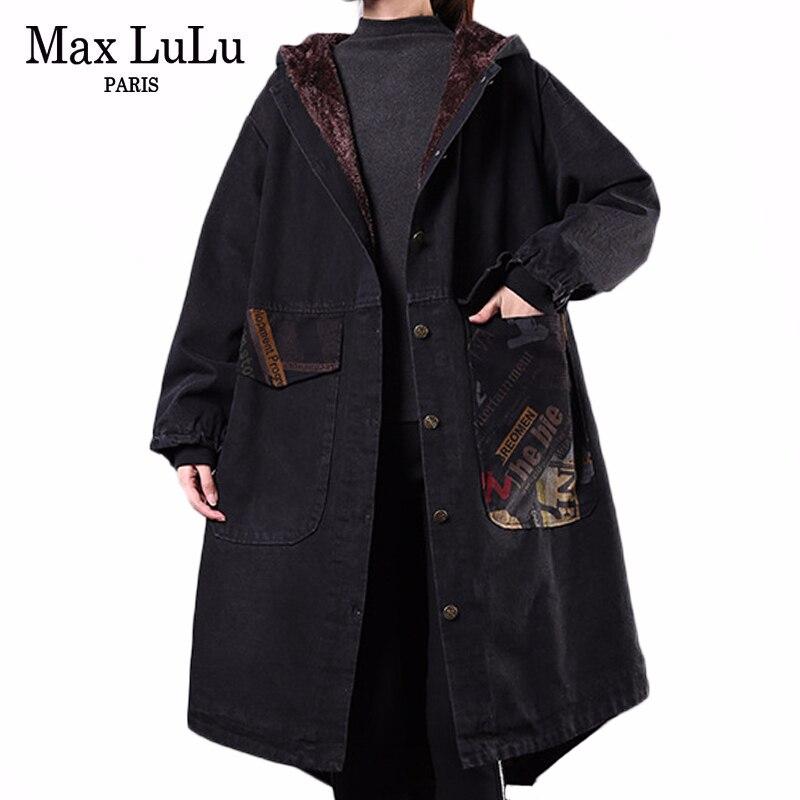 Женские Длинные теплые парки Max LuLu, зимние стеганые куртки в Корейском стиле с капюшоном, винтажная джинсовая одежда размера плюс, 2019