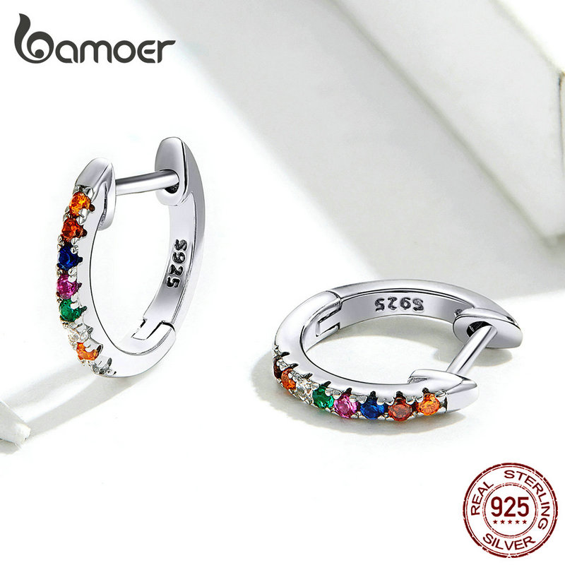 bamoer Authentic HOT SALE 6 Colors Circle Earrings for Women Silver 925 Gold Color Wedding Statement Jewelry Brincos SCE498 4