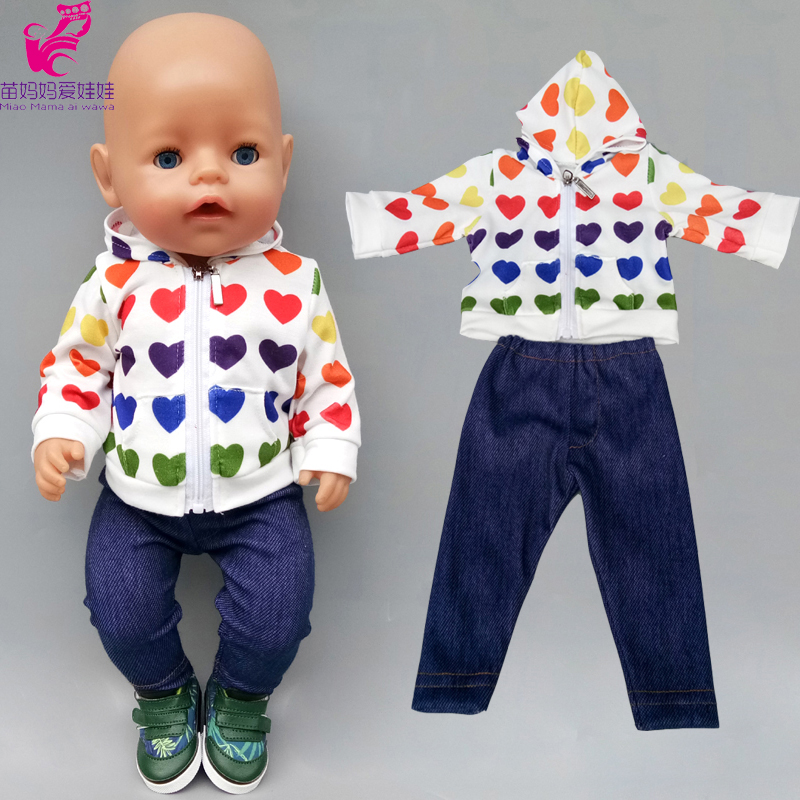 43cm Baby Doll Boy Clothes Heart Hoody Coat Jeans Trousers 18 Inch Girl Doll Jacket Toys Clothes Underpants Shorts