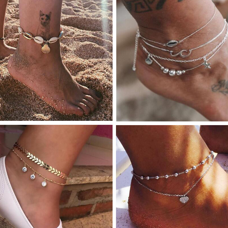 SeaShell Anklet For Women Foot Jewelry Summer Beach Barefoot Bracelet Ankle On Leg strap Bohemian Jewelry Accessories
