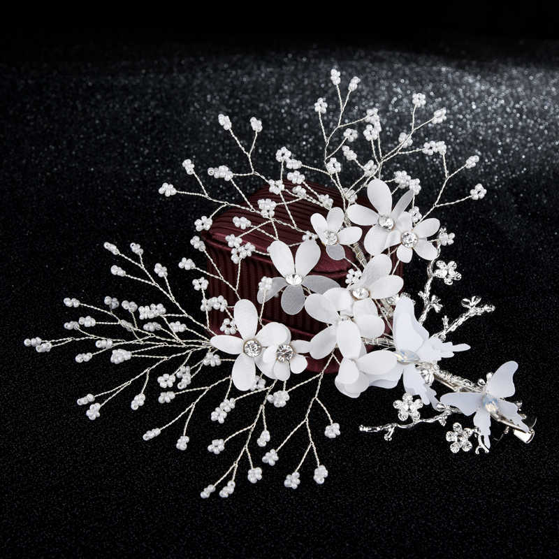 Silver Wire White Flowers Crystal Beads Elegant Hairclip Women Bridal Bride Wedding Party Hairgrips Hair Jewelry Decoration