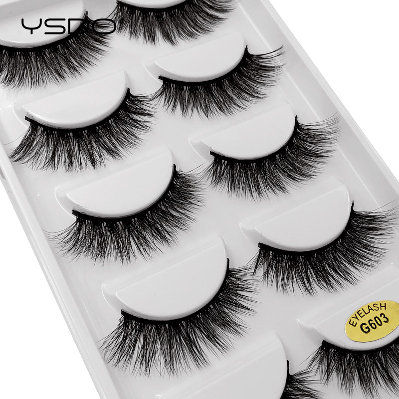 YSDO Lashes 5 Pairs Eyelashes Hand Made 3d Mink Lashes Plastic Cotton Stalk Mink Eyelashes Natural Long Makeup 3d Eyelashes G603