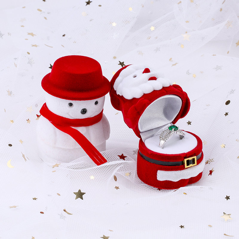 1 Piece Christmas Velvet Gift Box Santa Claus Jewelry Box Ring Box Snowman Ring Case Earrings Holder For Jewelry Display