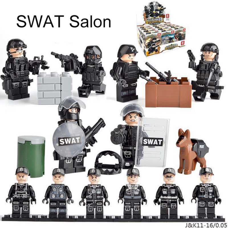 Military Special Forces Soldiers Bricks Figures Guns Weapons Compatible Armed Building Blocks Kids Toys