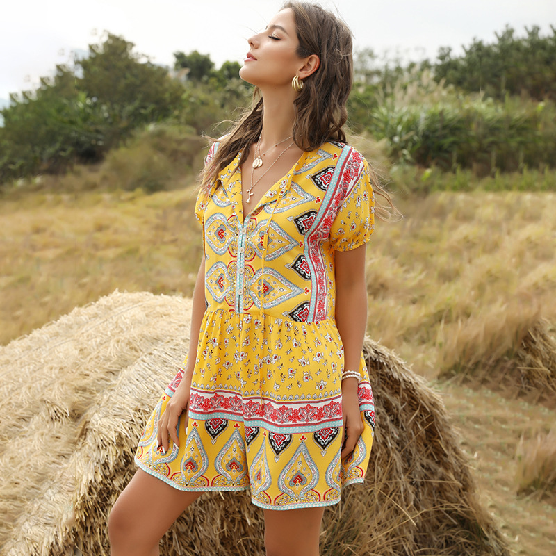 Bohemian Print Summer Playsuit Jumpsuit Women 2020 Short Sleeve Loose Short Jumpsuits Girsl Holiday Rompers Playsuits