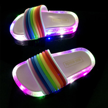 Buy 2019 summer Lovely candy rainbow LED slippers   children's slippers  kids slippers  3colors  boys slippers  unicorn shoes directly from merchant!
