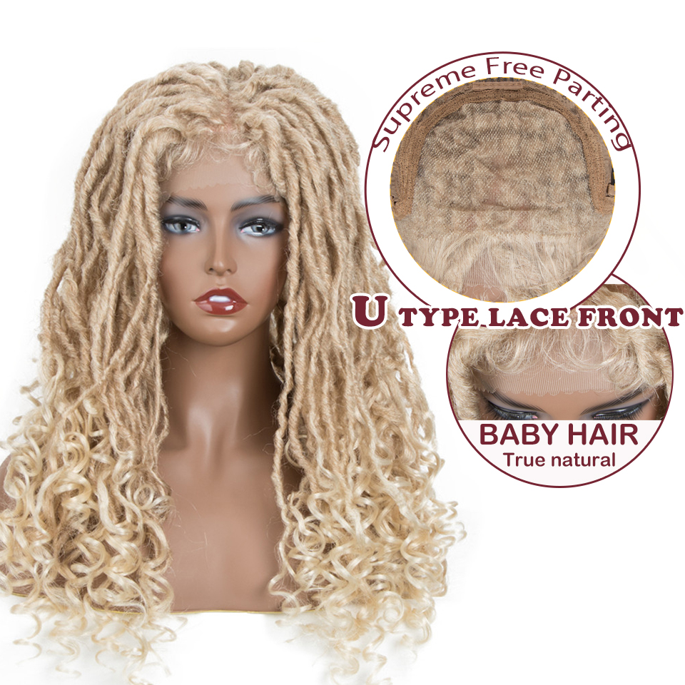Magic 60CM Faux Locs Curly Crochet Hair Large Area Synthetic Lace Front Wig For Black Women Ombre Crochet Braids Goddess Hair