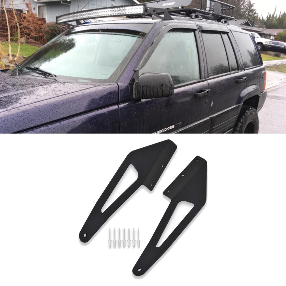 For 50'' Curved LED Light Bar Upper Roof Windshield Mounting Bracket Kit Fit For Jeep Grand Cherokee ZJ 1993-1998