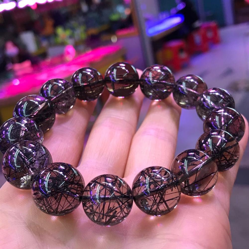 Image 3 - 15mm Genuine Brazil Natural Black Rutilated Quartz Crystal Clear Big Round Bead Woman Men Bracelets AAAAABracelets & Bangles   -