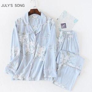 Image 1 - JULYS שיר נשים כותנה פיג מה סט פרחוני מודפס 2 חתיכות הלבשת פשוט רך ארוך שרוולים נשים סתיו חורף Homewear