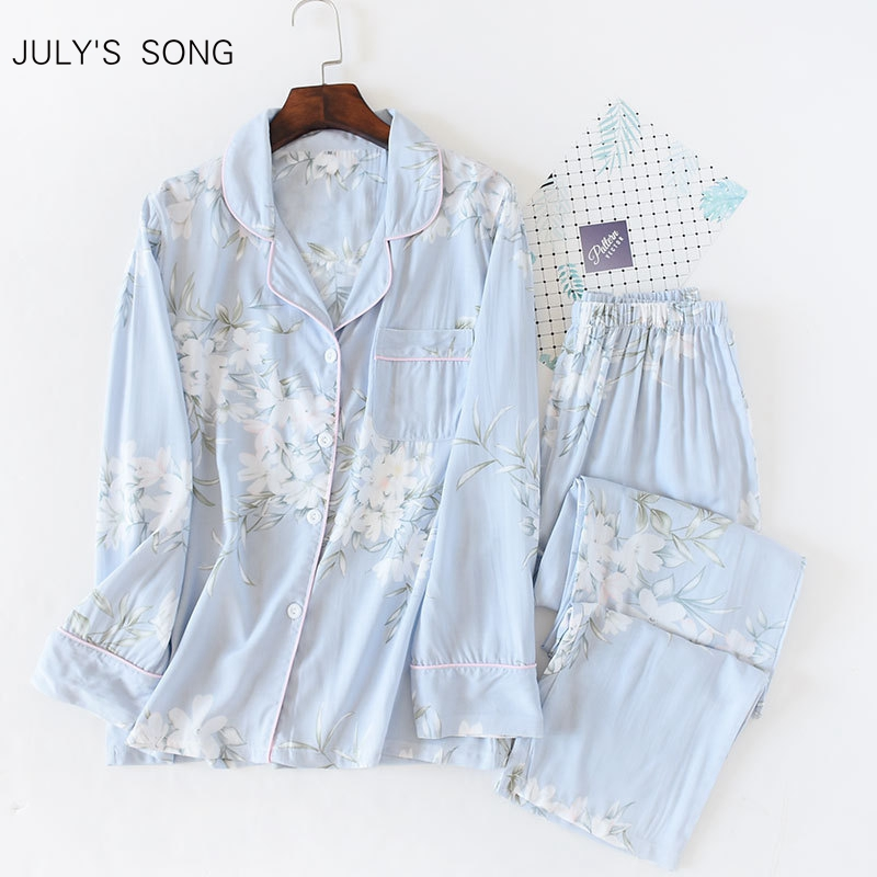 JULY'S SONG Women Cotton Pajamas Set Floral Printed 2 Pieces Sleepwear Simple Soft Long Sleeves Women Autumn Winter Homewear