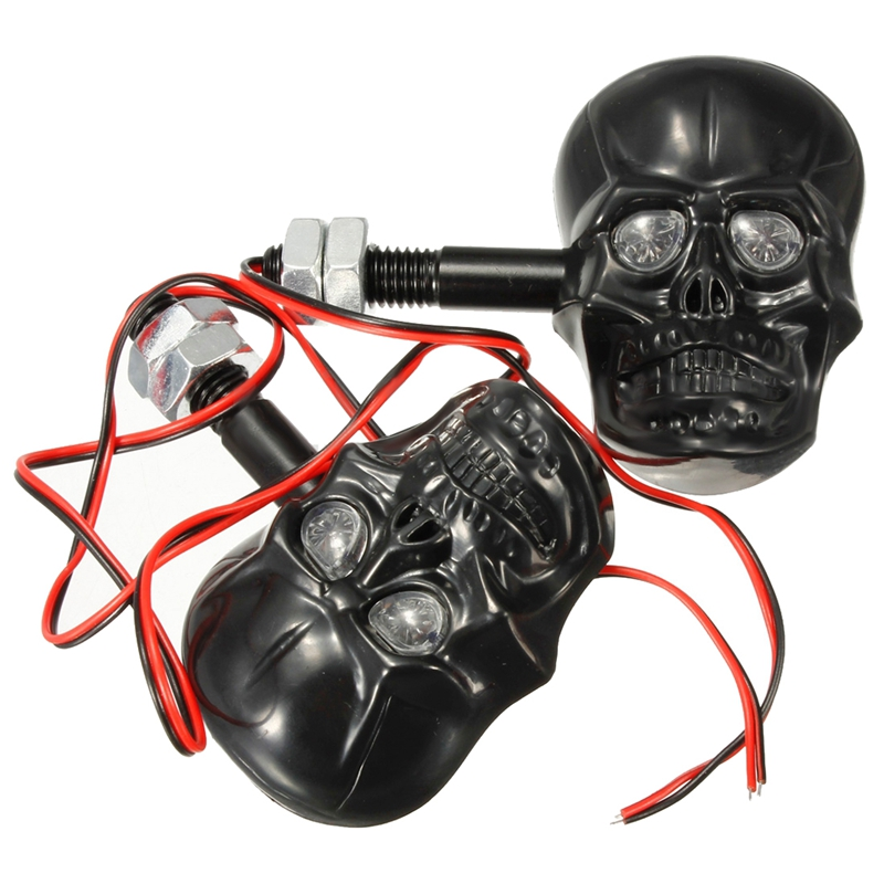 2x Amber Direction Indicators Arrows Skull Skull 3d Motorcycle Custom Black