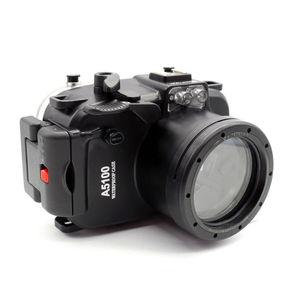 Image 1 - 40 M/130FT su geçirmez sualtı kamera muhafazası dalış sert çanta Sony A5100 16 50mm Lens + 67mm kırmızı filtre