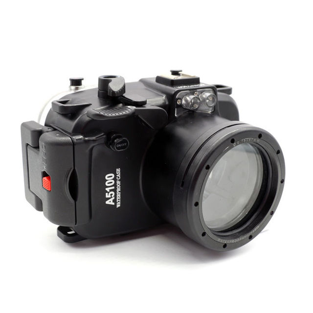 40 M/130FT su geçirmez sualtı kamera muhafazası dalış sert çanta Sony A5100 16 50mm Lens + 67mm kırmızı filtre