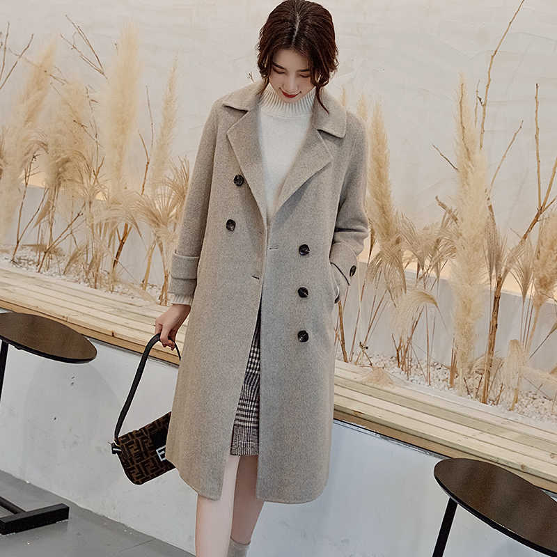 Women's Coat 2019 Winter Trends New Double-Sided Pure Cashmere Coat Long Loose Warm Women's Jacket
