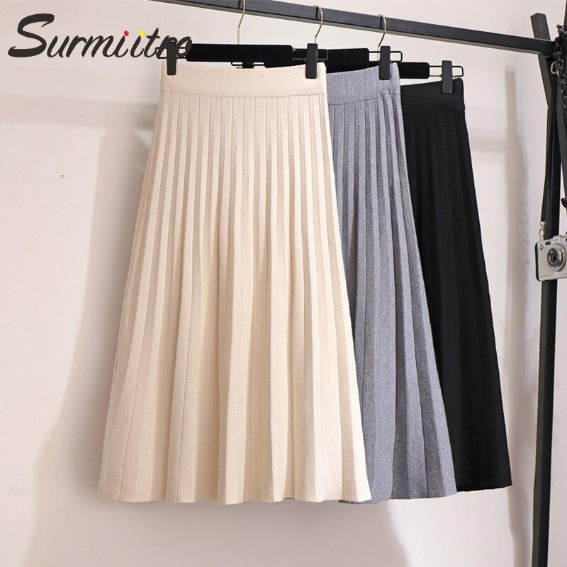 Falda plisada por debajo de la rodilla de punto Surmiitro para mujeres para el otoño invierno 2019 Corea señoras de alta cintura blanco negro Falda plisada femenina